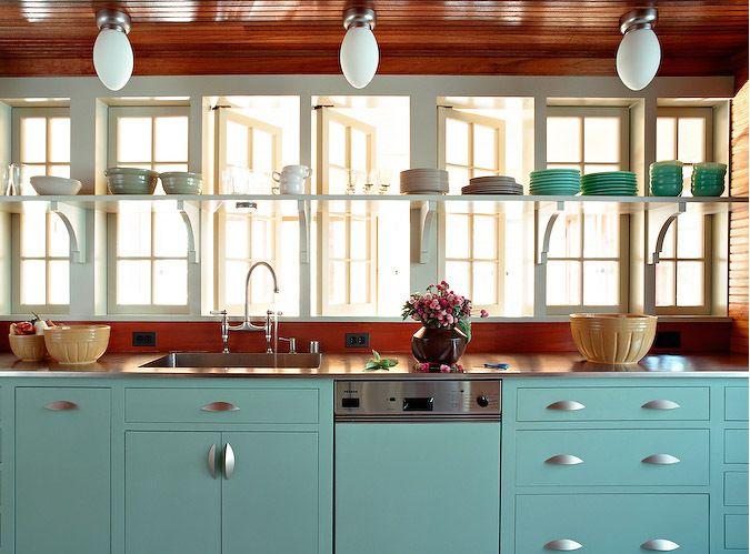 aqua cabinets + shelving across middle of windowKitchens Shelves, Open Shelves, Kitchens Design, Aqua Kitchens, Kitchens Ideas, Blue Kitchens, Robin Eggs Blue, Kitchens Cabinets, Painting Cabinets