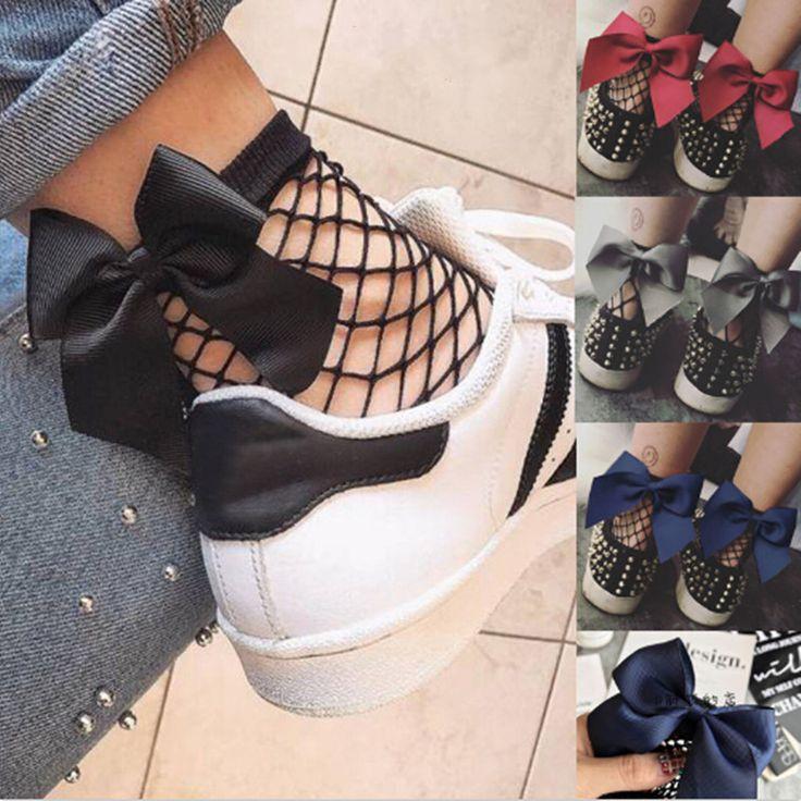 Fashion Women Ruffle Fishnet Ankle High Socks Mesh Sexy Lace Fish Net Bowknot Short Socks #jewelry, #women, #men, #hats, #watches, #belts, #fashion