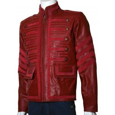 Military Maroon Leather Jacket Men
