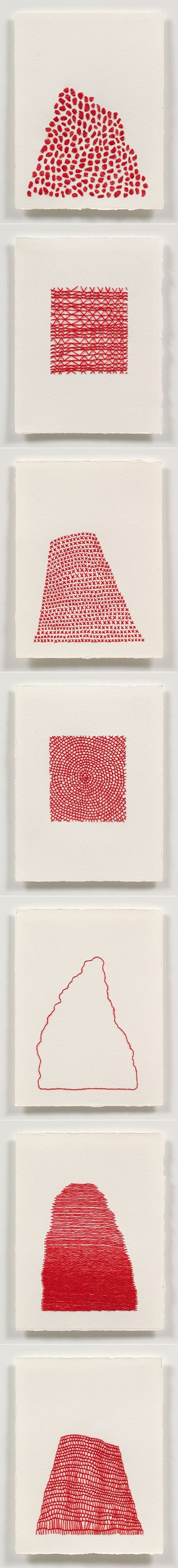 Emily barletta embroidery on paper red
