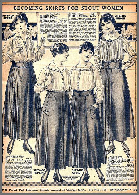 1916 Becoming Skirts for Stout Women, Sears catalog by mcudeque, via Flickr
