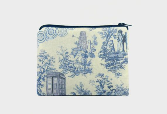 Dr. Who Toile. What a concept! http://www.etsy.com/listing/117749870/doctor-who-toile-small-zipper-pouch-coin