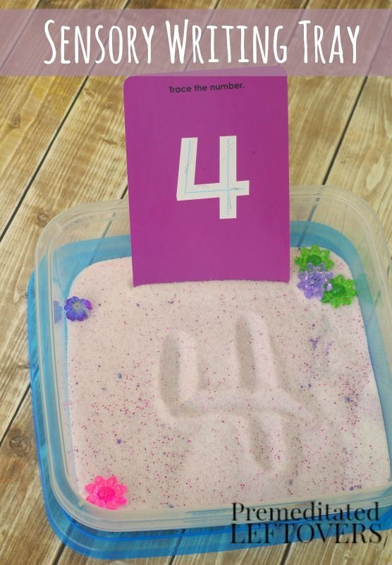 Sensory Learning Tray for Kids- Encourage learning through play with this DIY sensory tray idea. Kids can use it to make a game of practicing letters, numbers, or sight words with these activities. This is perfect for pre-school, kindergarten, and early elementary kids who need a tactile activity to reinforce the concepts they are learning.