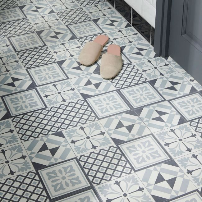 Panele Podlogowe Winylowe Goodhome 30 5 X 30 5 Cm Black White Cement Tiles Winylowe Self Adhesive Vinyl Tiles Goodhome Adhesive Vinyl