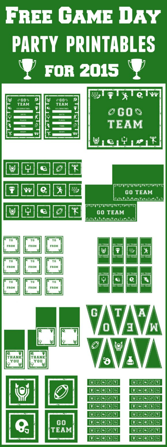 Free 2015 Game Day Party Printables! See more football party ideas at CatchMyParty.com.