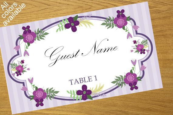 Place card design floral place card by WeddingTemplatesHub on Etsy