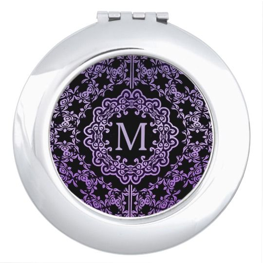 Monogram Purple Filigree Motif Compact Mirror | Also available in blue/silver, black/silver, &  black/gold.   | Square, Round, Oval, & Heart.