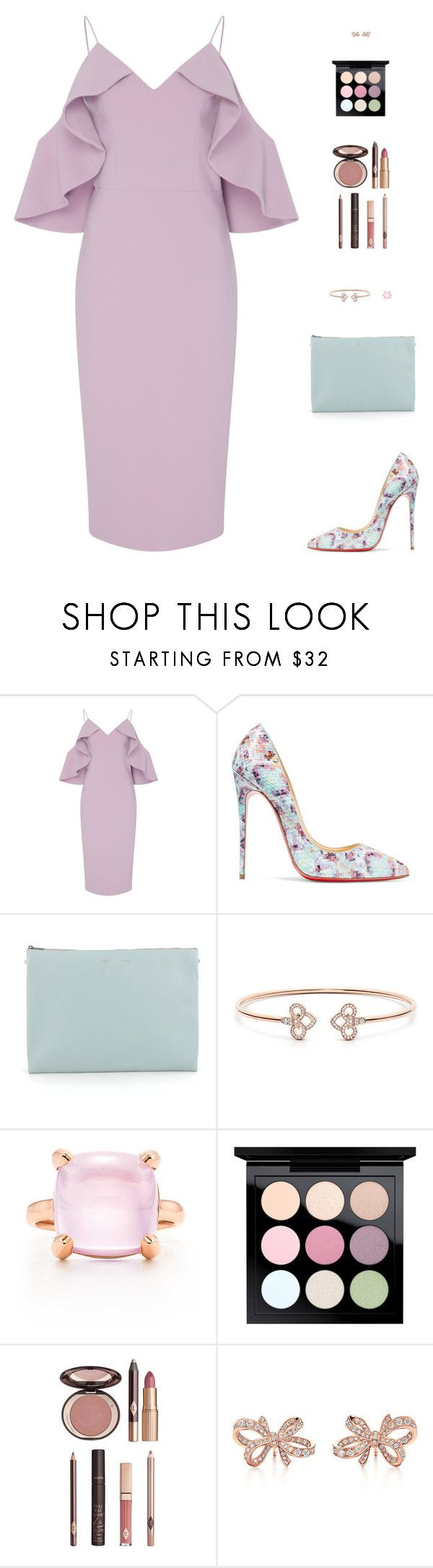 """Untitled #5008"" by mdmsb on Polyvore featuring Christian Siriano, Christian Louboutin, CÉLINE, Tiffany & Co., MAC Cosmetics and Charlotte Tilbury"