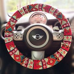 Girly Car Accessories Just For You! This BOHO steering wheel cover made of red bohemian fabric is one of our besting selling products back on Etsy. Fits tightly to 14'-15' steering wheels. Can be customized according to the dimension of your steering wheel.