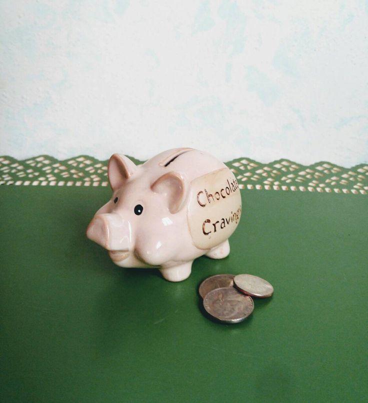Vintage Pottery Piggy Bank Chocolate Cravings Coin Bank Smash Pig Bank Ceramic Savings Bank Coin Slot Bank 1995 Miniature Pig Bank by KarmaKollectibles on Etsy https://www.etsy.com/listing/562837404/vintage-pottery-piggy-bank-chocolate