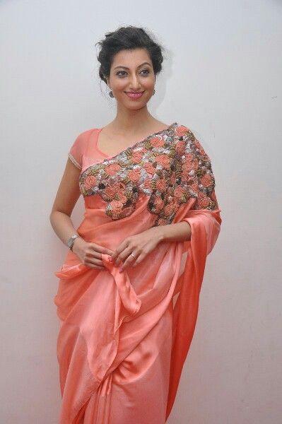 Pink applique work saree