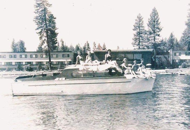 """Photo of """"Miss Idaho"""" and her entourage aboard an original Payette Lake Cruiser, 1947 27′ Chris-Craft Super Deluxe Enclosed Cruiser which was delivered from Algonac, Michigan by railway to Payette Lake, Idaho (all documented by the current owner). (FYI – Miss Idaho for 1947 was Norma Briggs who performed Drama """"Romeo and Juliet"""" at the pagent – Texx)"""