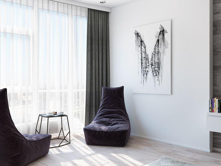 Небольшая зона отдыха у окна в пол. Мягкие стильные кресла и живопись - что может быть более актуальным в сдержанном интерьере?