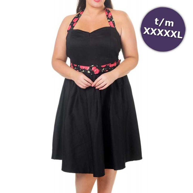 Sophie swing jurk met halternek met kersen print zwart – Vintage 50's Rockabilly retro