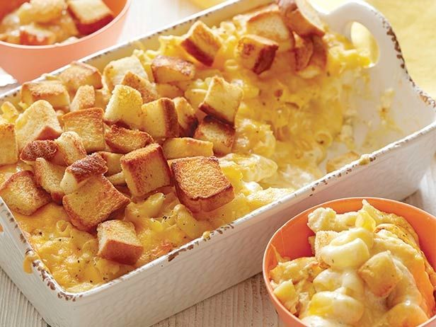 Spicy Macaroni and Cheese Recipe : Sunny Anderson : Food Network Feeling nostalgic for her mom's mac and cheese, Sunny came up with this smooth, spicy version to hold her over between visits home. Buttery croutons top it off for a nice crunch.