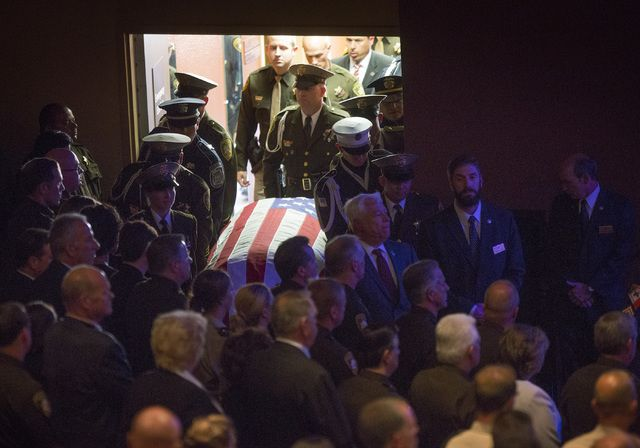 Thousands — many in uniform — gathered Thursday to bid farewell to officer Igor Soldo at Canyon Ridge Christian Church, 6200 W. Lone Mountain Road, one of two Las Vegas police officers ambushed and killed Sunday while having lunch.