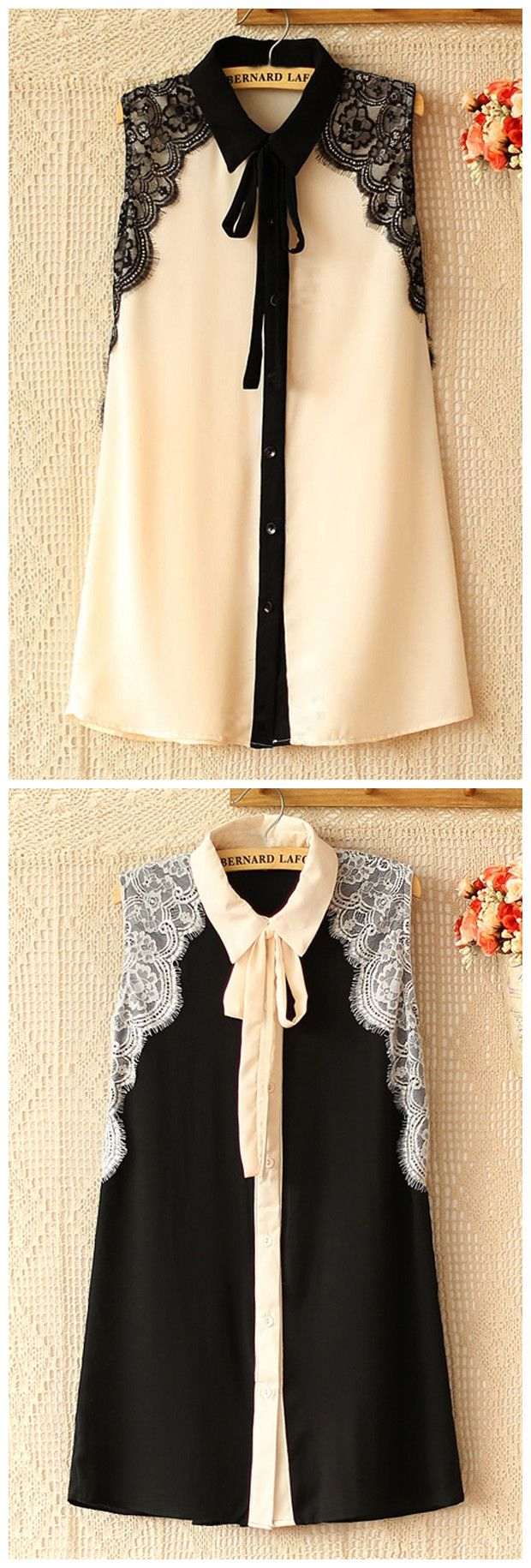 Lace Patch and Self-Tie Tunics