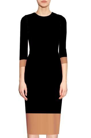 b416fdd7 Elowyn Two Toned Sheath Dress - Black and Camel in 2018   CaeliNYC ...