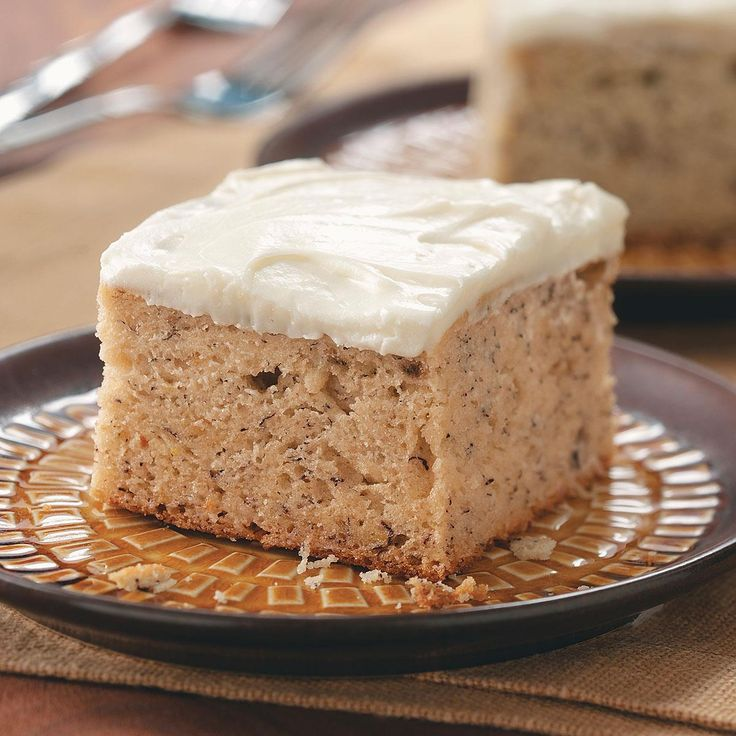 Banana Cake with Cream Cheese Frosting Recipe -As a mother of three sons, I know that sweets are a staple in my kitchen! I buy lots of ripe bananas on sale and freeze them with this cake in mind. I'm often asked to bring it to family picnics and dinners.—Bonnie Krause, Irvona, Pennsylvania