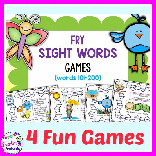 **FREEBIE** This Spring theme set of 4 Fry sight word games is loads of fun. No prep interactive games for Kindergarten and First Grade!