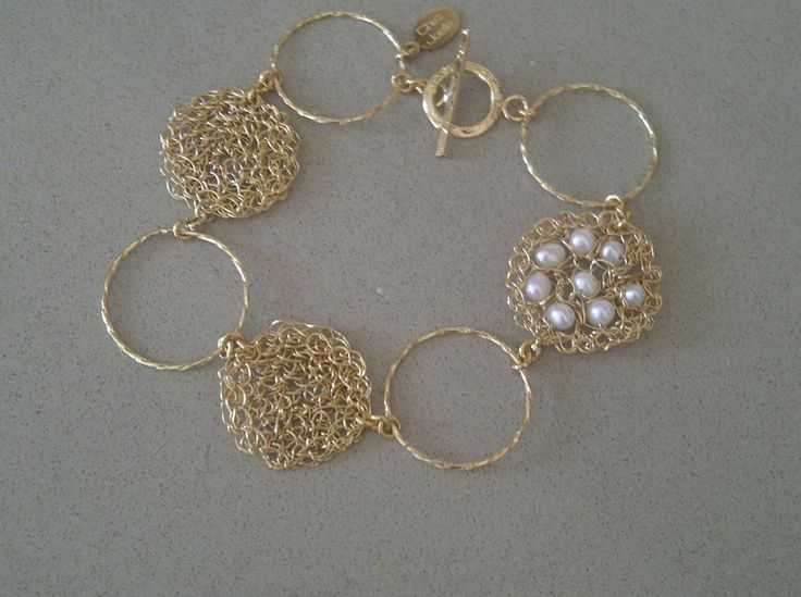 Goldfilled wire crochet and pearl bracelet. $80.00, via Etsy.