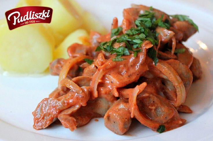 Potrawka z żołądków w kremowym sosie pomidorowym. #sos #pomidorowy #obiad #pudliszki #przepis