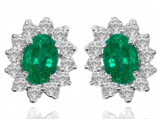 Emerald & Diamond Earrings - Nazar's Fine Jewelry