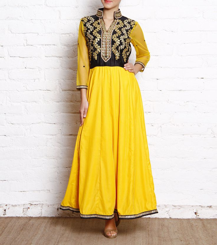 Yellow Velvet Anarkali with Gota Patti Yoke by simple kaur for indianroots.com