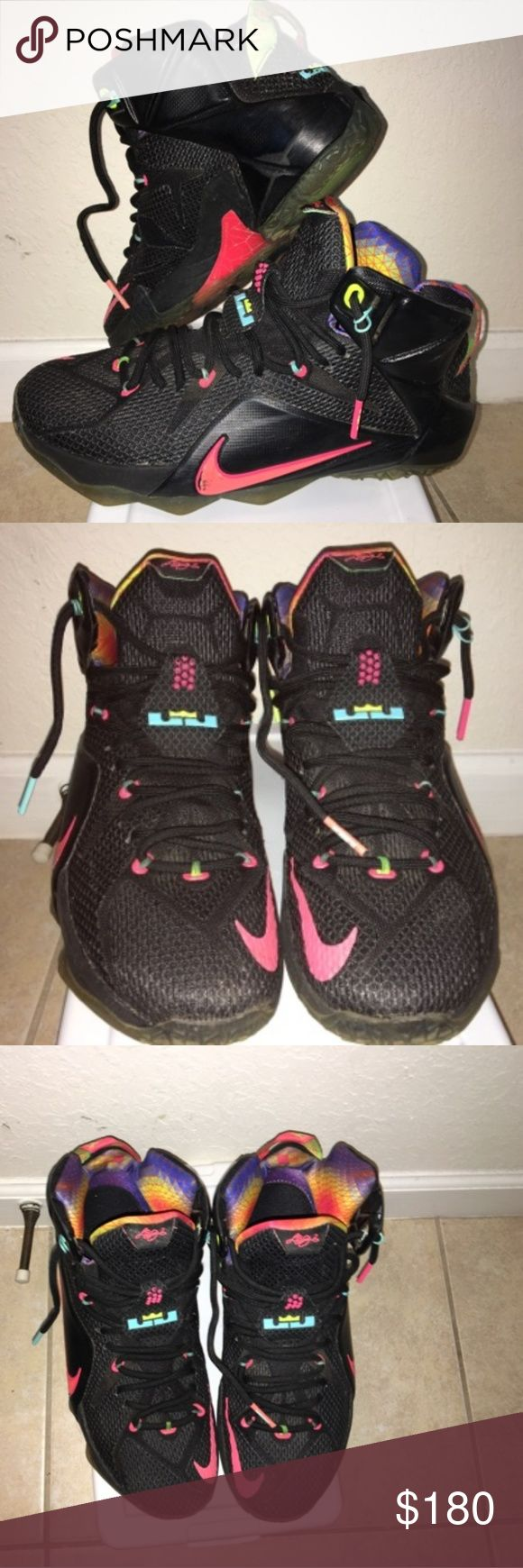 "LeBron James sneakers Pre-own worn ONCE! Lebron James 12 ""Black Bright Mango Hyper Punch"" Size U.S. : 9.5. LeBron James Shoes Sneakers"