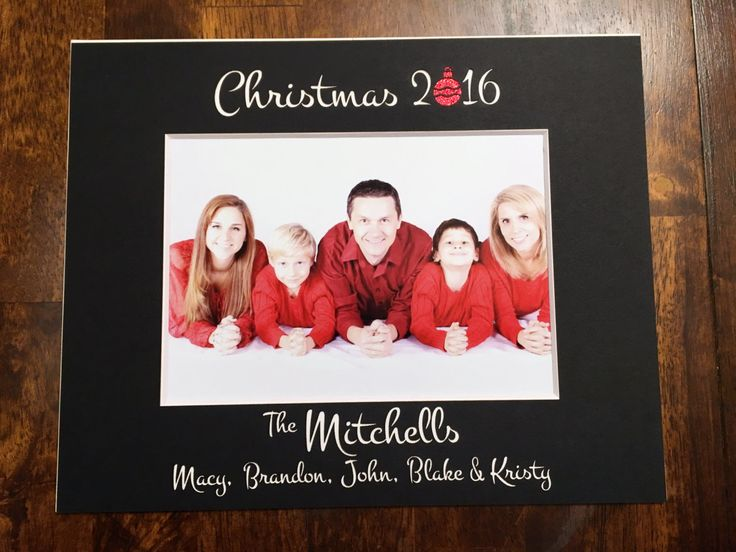 Custom Christmas 2016 Photo Mat - with Cute Ornament in the year and the names of your family (8x10) by NewtonHandiworks on Etsy