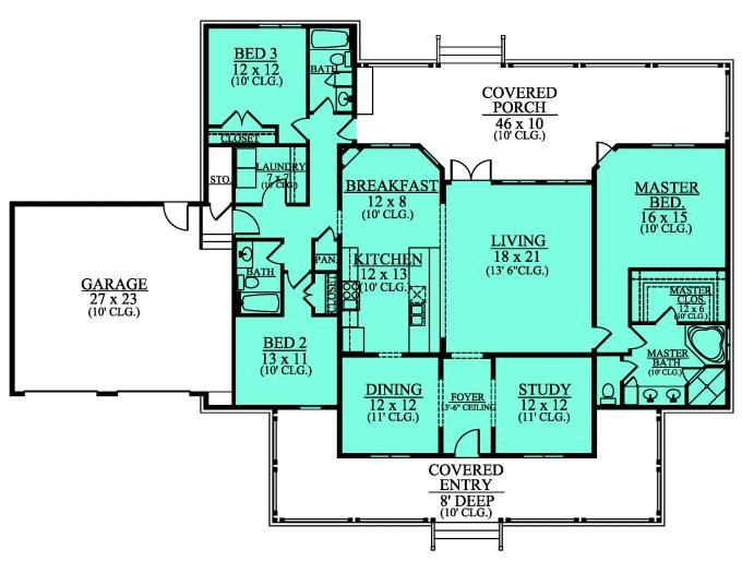 Ranch house floor plans with porch