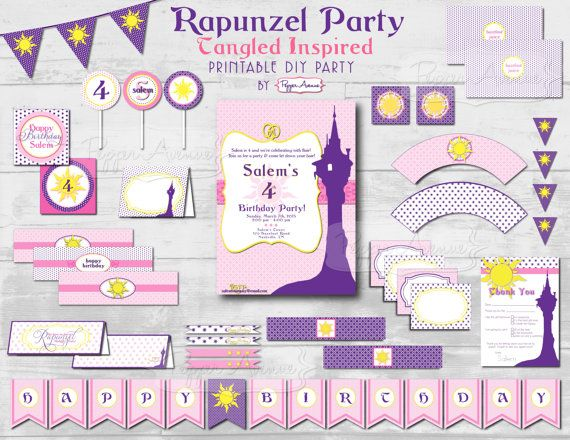 Custom Rapunzel Party Package - Tangled Inspired - Rapunzel or Tangled Birthday Party Printables by Pepper Avenue
