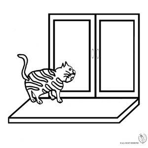 Disegno di Gatto sulla Finestra da colorare