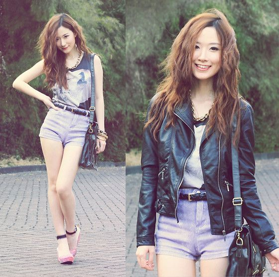 New Look Top, Zara Leather Jacket, Up Shoes Galaxy Wedges