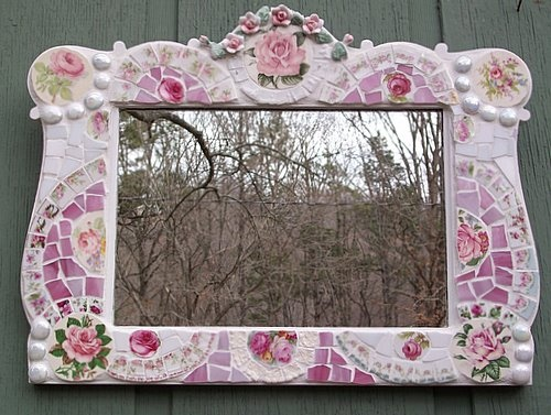 Fabulous Mosaic Tile Mirror Shabby Cottage Chic with Pink Roses