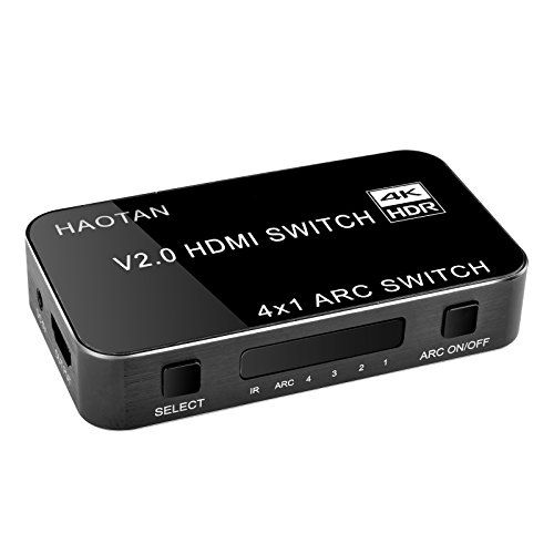 HAOTAN 4k HDMI Switch4 Port 4x1 HDMI Switcher box Audio Extractor with IR Wireless Remote supports ARC, HDCP 2.2,HDR, 4K x 2K, 3D, 1080p  4K HDMI 2.0 switcher Switches 4 HDMI inputs into a single HDTV or Display output.  Supports up to 4K x 2K (3840*2160)@60Hz resolutions, a great HDMI switch for New MacBook, Apple TV PS4/PS4 Pro, Xbox, Amazon Fire TV, Nintendo Switch, Blu-Ray Player,HD-DVD HD-DVR Roku Chromecast, Digital Satellite & Cable boxes  HDMI audio ouputs ARC function provide...