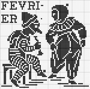 Month 02   Free chart for cross-stitch, filet crochet   Chart for pattern - Gráfico
