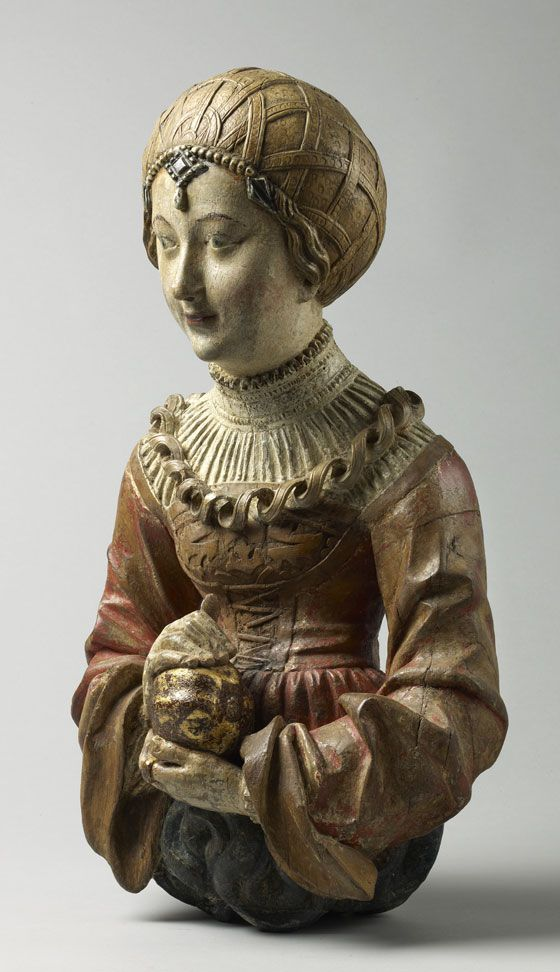 Young woman from a chandelier. Southern Germany, Swabia. Early 16th century, 40 x 25 x 11 cm; limewood, much original polychromy, later gilding.
