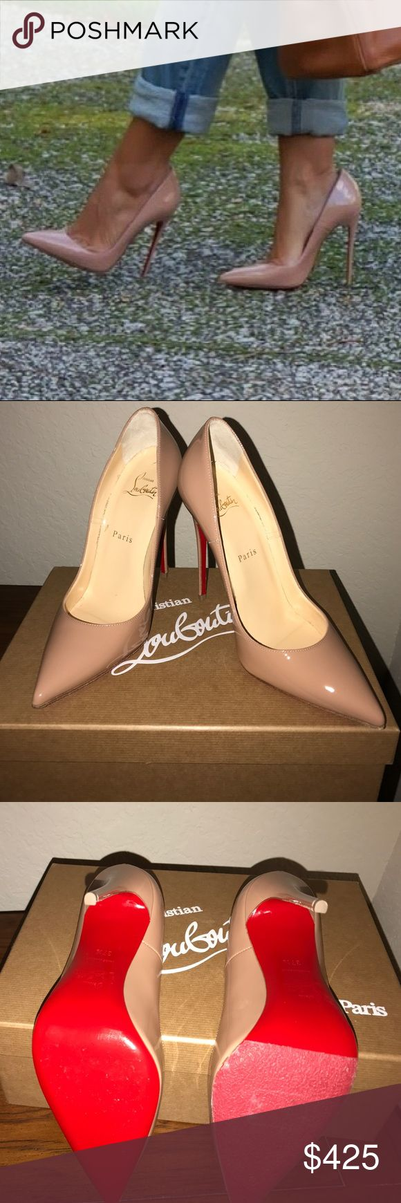 """Christian Louboutin - """"Red Bottoms"""" So Kate Nude patent leather 120s.                        ❤️ Gorgeous heel ❤️ Worn once, minor wear on bottom. Right heel with slip resistant sole protector (my attempt at making the heels easier to walk in). Purchase includes box, dust bag, nude replacement heel taps, and a clear sole protector for the left heel. Christian Louboutin Shoes Heels"""