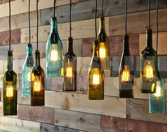4 Light Chandelier Recycled Wine Bottle Pendant by MoonshineLamp