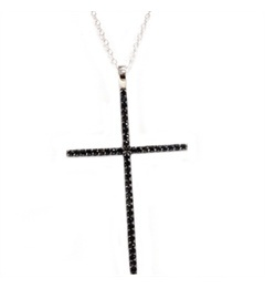 White Gold .50CT Black Diamond Cross Pendant Necklace
