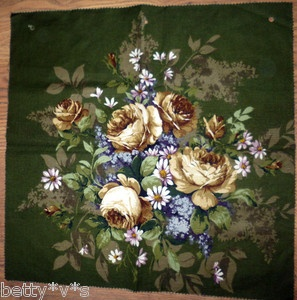 VTG Sanderson olive green yellow roses fabric for cushion/ upholstery