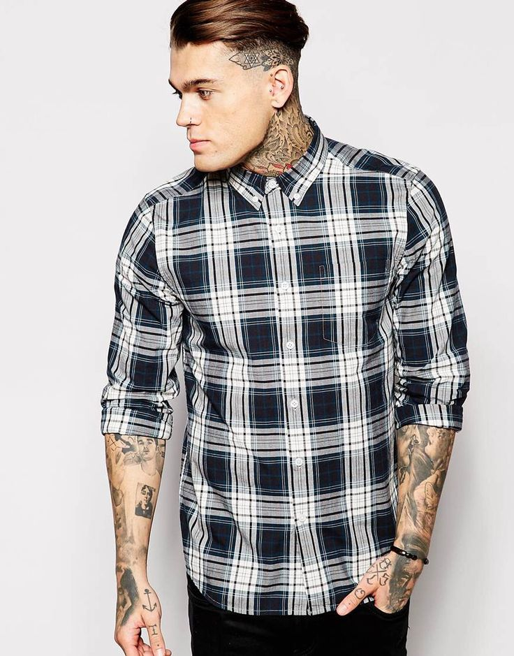 Shirt by ASOS Breathable fabric Fastened point collar Button placket Chest  pocket Regular fit - true to size Machine wash Cotton Our model wears a  size ...