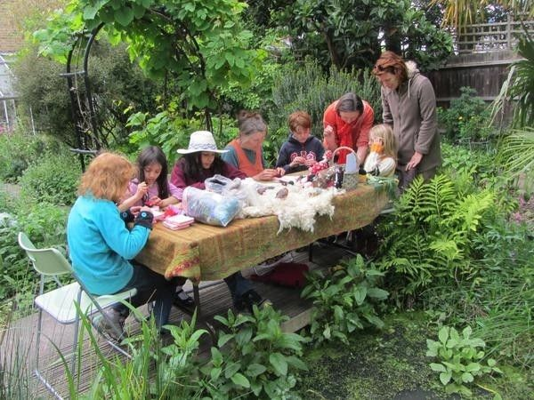 Needlefelting ladybirds at South London Botanical Institute as part of Chelsea Fringe Festival in London.  Great fun, beautiful setting