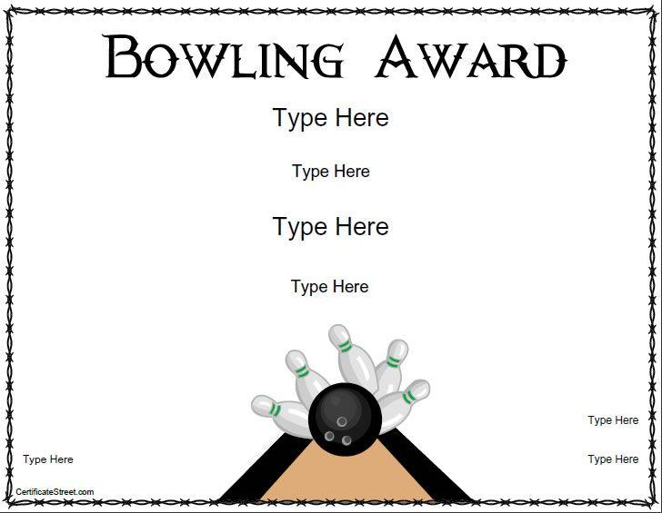Blank Certificates - Bowling Award Certificate Template | CertificateStreet.com