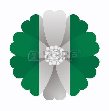 illustration of flower Flag Nigeria photo