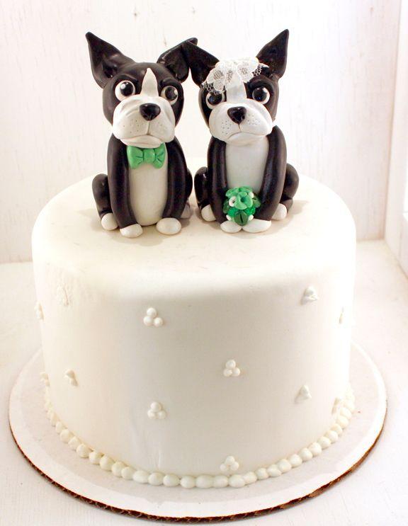 Custom set of boston terrier wedding cake toppers.