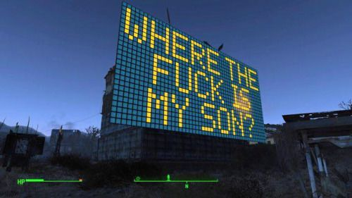 I dont know whats funnier: the sign itself or the fact that the huge amount of time building the sign was not spent looking for their son.  fallout fallout 4