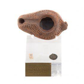Herodian Period Oil Lamp & Bronze Coin