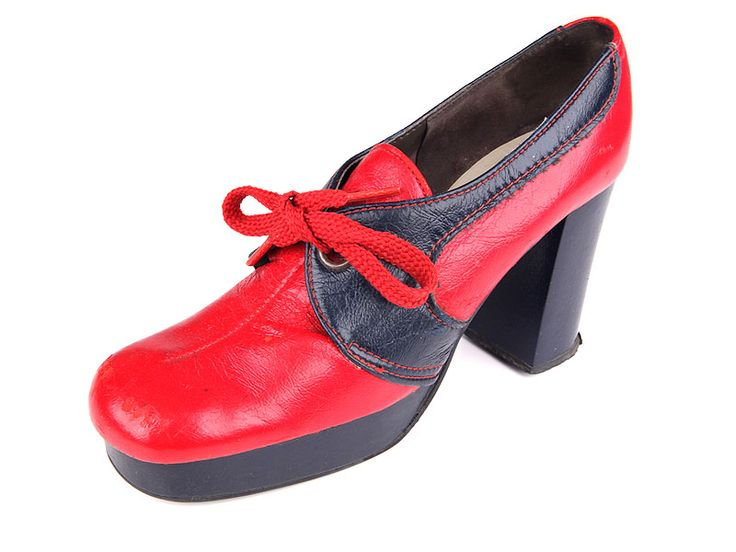 Red and blue leather high heels front lacing platform shoes. 1970's.